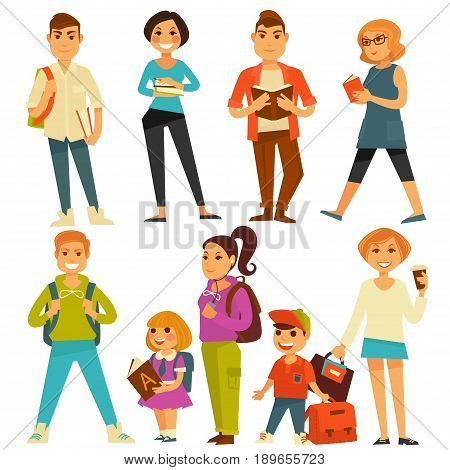 Students and school pupils flat icons set. Vector isolated teenager people form university, boy with rucksack or backpack, young girl with ABC book and coffee cup