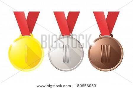 Medals Gold Silver Bronze Copper On A Red Ribbon Isolated On White Background