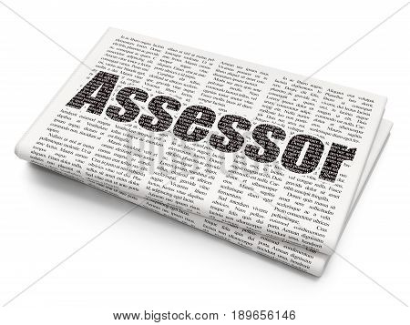 Insurance concept: Pixelated black text Assessor on Newspaper background, 3D rendering