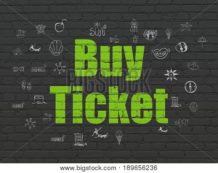 Vacation concept: Painted green text Buy Ticket on Black Brick wall background with  Hand Drawn Vacation Icons
