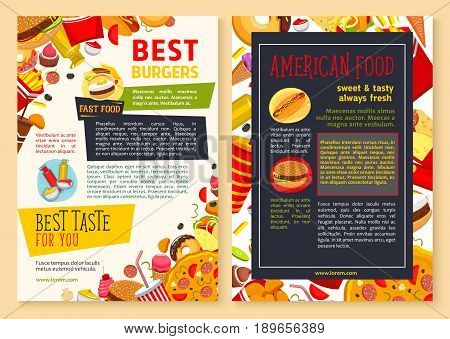 Fast food restaurant poster or menu template. Vector design of hot dog sandwiches, cheeseburgers and pizza. Fastfood combo of burgers, french fries snack and ice cream or donut muffin dessert