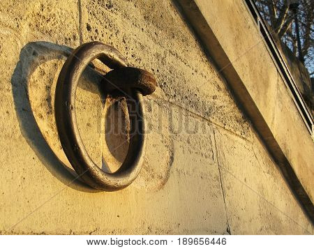 Mooring ring by the Seine river in Paris France on a sunny winter morning.