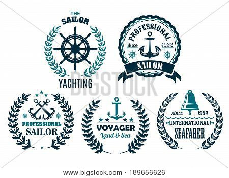 Yachting and sailor or marine voyager club heraldic nautical icons. Vector badges set of ship bell, helm and anchor, laurel wreath on stars and navy captain compass or wind rose