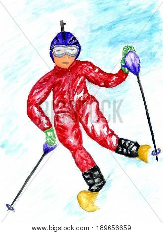 Watercolor winter sport sketch downhill skier hand painted illustration.