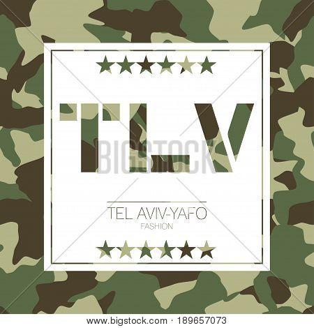 Tel Aviv-yafo, Israel Camouflage Typography. T-shirt Graphics