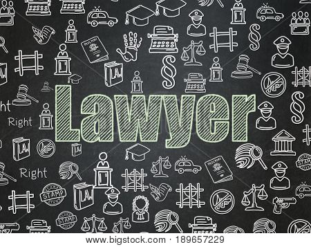 Law concept: Chalk Green text Lawyer on School board background with  Hand Drawn Law Icons, School Board
