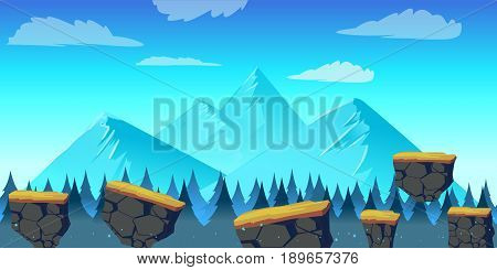 Cartoon landscape for game, illustration with separate layers. illustration for your design