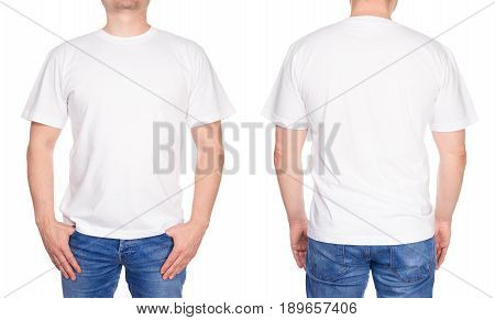 T-shirt Design - Young Man In Blank White Tshirt Front And Rear Isolated