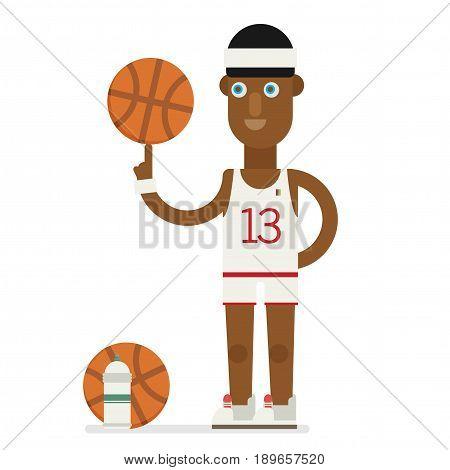 Basketball player concept. Basketball player illustration flat