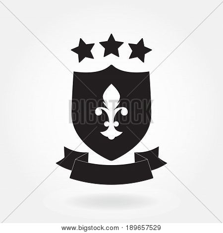 Shield icon. Blazon with ribbon and stars. Heraldic royal design element. Vector illustration.
