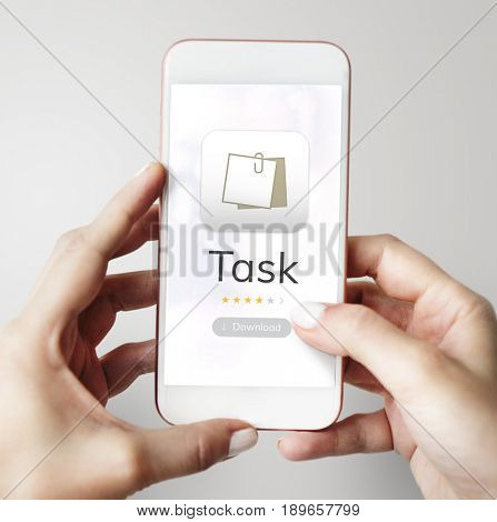 Illustration of personal organizer notepad on mobile phone