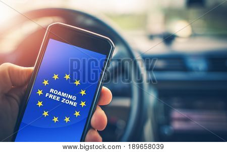 Roaming Free Euro Zone. Texting Calling and Internet Use Without Roaming Charges Within Euro Zone. Concept Photo.