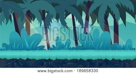 cartoon jungle landscape, unending background with separated layers for game.