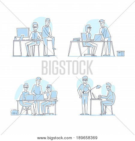 Business characters. Thin line. Co working people, meeting, teamwork, collaboration and discussion, conference table, brainstorm. Workplace. Office life. Flat design vector illustration.