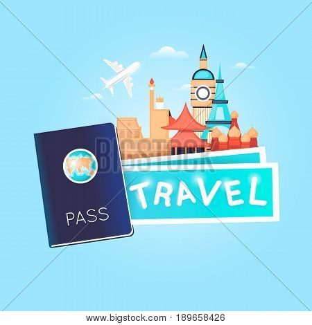 World Travel. Passport with tickets. Planning summer vacations. Holiday, journey. Tourism and vacation theme. Poster. Flat design vector illustration.
