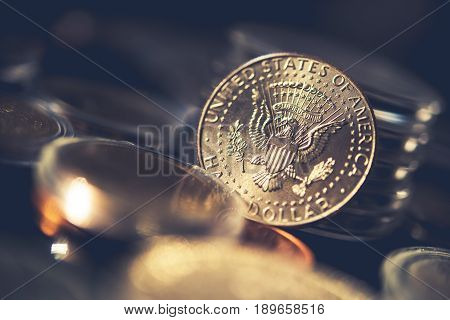 Silver Half Dollar Coin. Collectible Coin Closeup Photo.