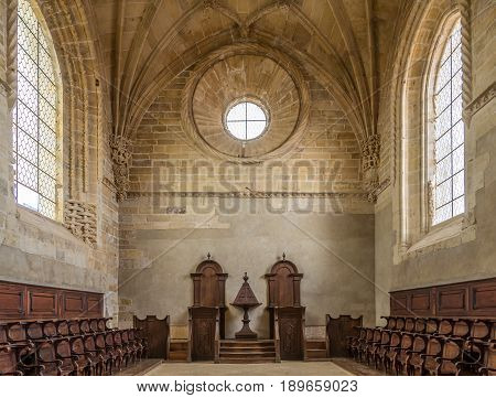 TOMAR,PORTUGAL - MAY 11,2017 - Inside of the Convent of Christ choir in Tomar. The Convent of Christ is a former Roman Catholic convent/monastery in Tomar.