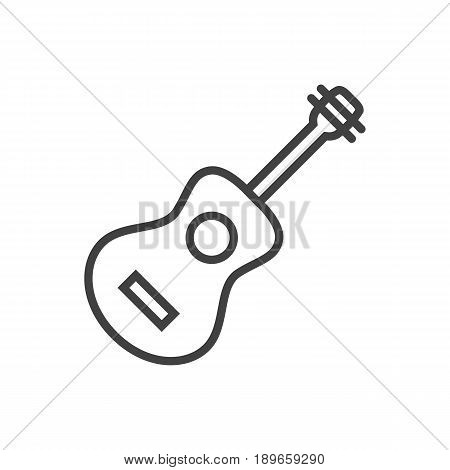 Isolted Acoustic Outline Symbol On Clean Background. Vector Guitar Element In Trendy Style.