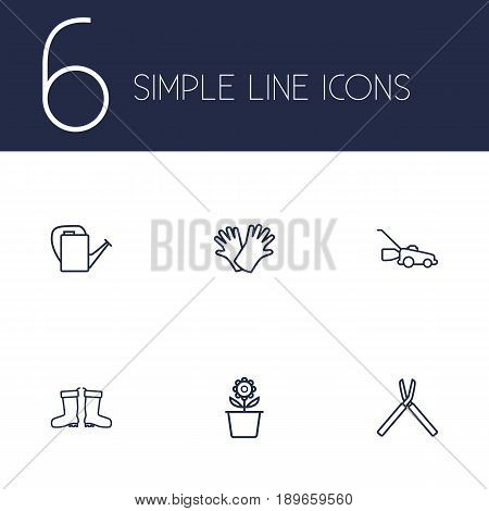 Set Of 6 Horticulture Outline Icons Set.Collection Of Bailer, Grass-Cutter, Safer Of Hand Elements.
