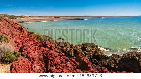 Ocean Cost Landscape Of Punta Tombo, Patagonia, Argentina