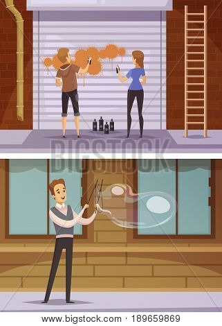 Street artists cartoon horizontal banners with girls spraying paint on blinds and young man blowing bubbles flat vector illustration