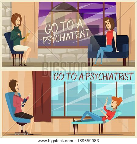 Horizontal flat banners with visit to psychiatrist including specialist and girl patient on couch isolated vector illustration