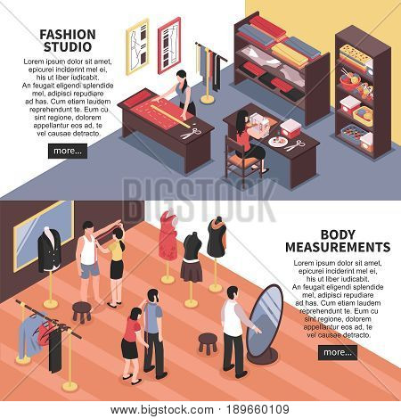 Fashion studio and body measurements horizontal banners with dressmakers and customers isometric icons vector illustration