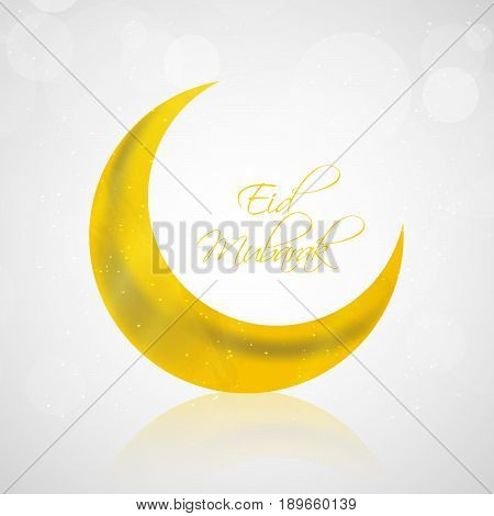illustration of moon in yellow background with Eid Mubarak text
