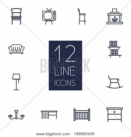 Set Of 12 Decor Outline Icons Set.Collection Of Tv Set, Bookshelf, Bar Stool And Other Elements.