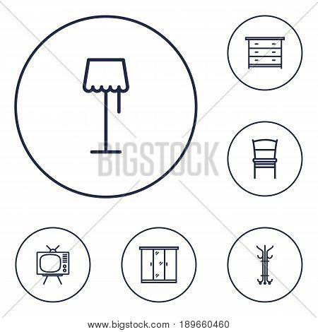 Set Of 6 Set Outline Icons Set.Collection Of Chair, Closet, Drawer Unit And Other Elements.
