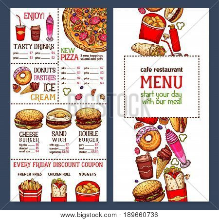 Fast food menu price template for fastfood restaurant or cafe. Vector design of hot dogs, burgers or cheeseburgers, donut and cakes or ice cream desserts and french fries or popcorn snacks and drinks
