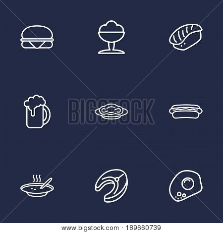 Set Of 9 Eat Outline Icons Set.Collection Of Hotdog, Raw Fish, Sandwich Elements.