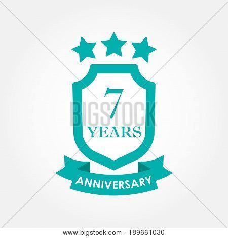7 years anniversary icon or emblem. 7th anniversary label. Celebration invitation and congratulation design element. Colorful vector illustration.
