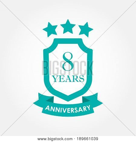 8 years anniversary icon or emblem. 8th anniversary label. Celebration invitation and congratulation design element. Colorful vector illustration.
