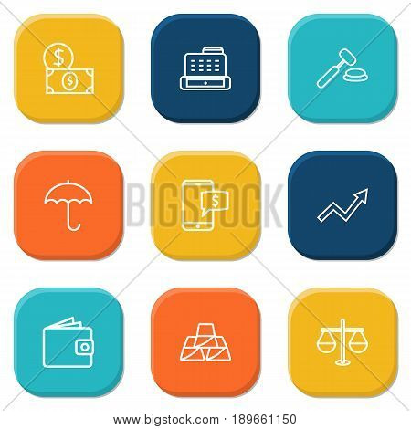 Set Of 9 Finance Outline Icons Set.Collection Of Grow Up, Golden Bars, Auction And Other Elements.