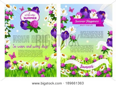 Welcome Summer posters set flowers bouquets and blooming summertime field of viola or iris blossoms, clover petals and daisy in flourish bloom, butterfly on summer grass meadow and flowery ribbons