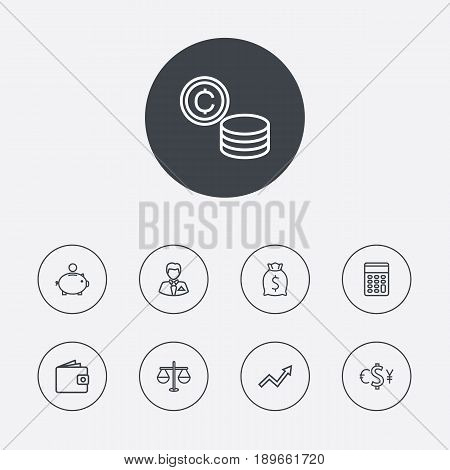 Set Of 9 Finance Outline Icons Set.Collection Of Coins, Calculator, Exchange And Other Elements.