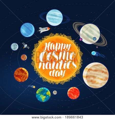 Happy cosmonautics day, banner. Outer space, cosmos, galaxy, planets and stars concept Vector illustration