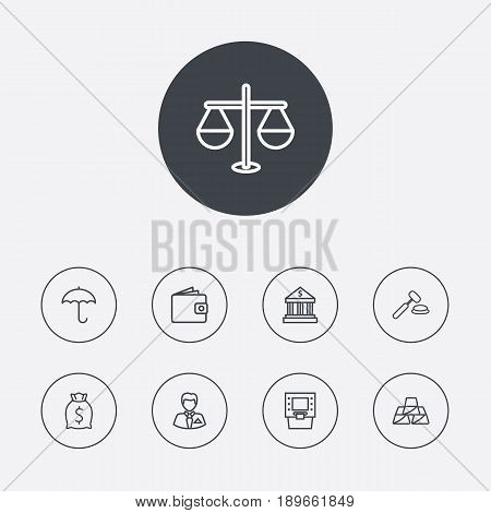 Set Of 9 Budget Outline Icons Set.Collection Of Protect, Justice, Golden Bars And Other Elements.