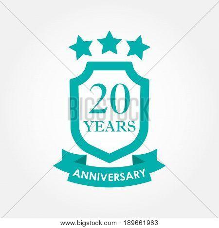 20 years anniversary icon or emblem. 20th anniversary label. Celebration invitation and congratulation design element. Colorful vector illustration.