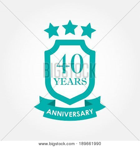 40 years anniversary icon or emblem. 40th anniversary label. Celebration invitation and congratulation design element. Colorful vector illustration.