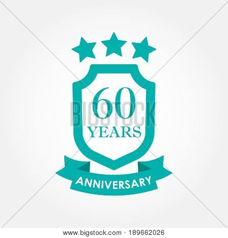 60 years anniversary icon or emblem. 60th anniversary label. Celebration invitation and congratulation design element. Colorful vector illustration.