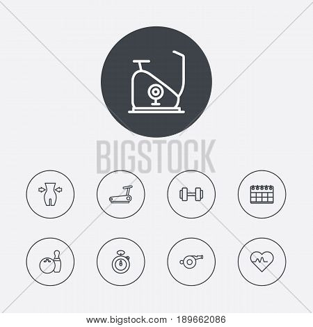 Set Of 9 Training Outline Icons Set.Collection Of Whistle, Running Track, Exercise Bike And Other Elements.