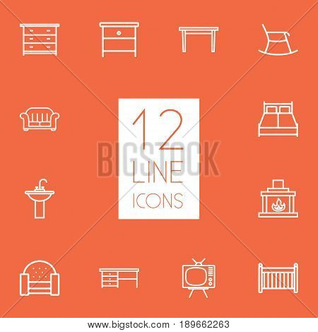 Set Of 12 Situation Outline Icons Set.Collection Of Washbasin, Fireplace, Crib And Other Elements.