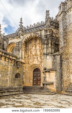 View at the Entrance Portal Convent of Christ castle in Tomar - Portugal