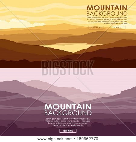 Set of Mountain landscapes. Yellow and purple mountain ranges at sunset. Vector illustration.