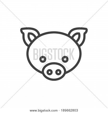 Isolted Swine Outline Symbol On Clean Background. Vector Pig Element In Trendy Style.