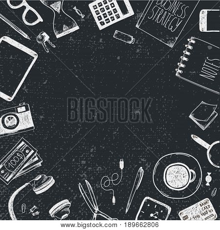 Vector set of hand drawn office tools. Freelance, tools for making business online, entrepreneur. Mock up, top view. Black and white