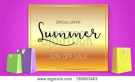 Summer sale ad, selling banner on gold background. Paper shopping bags with labels purchased items. Bright, noticeable selling banner ad. Advertising sign with lettering elements.