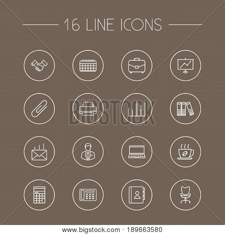 Set Of 16 Bureau Outline Icons Set.Collection Of Contacts, Notebook, Workplace And Other Elements.
